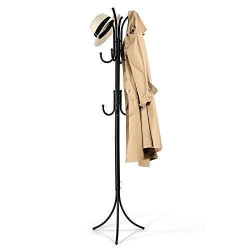 Budget cozzine coat rack coat tree hat hanger holder 11 hooks for jacket umbrella tree stand with base metal black