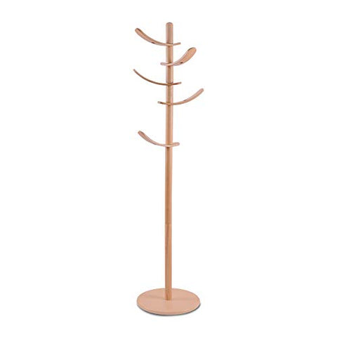 Yaker's collection Wooden Coat Rack, 5 Rotatable Hooks Hall Tree, Coat Racks Free Standing with Adjustable Size, Easy Assembly Entryway Coat Hanger Stand for Cloths, Hat, Scarves, Handbags(Nature)