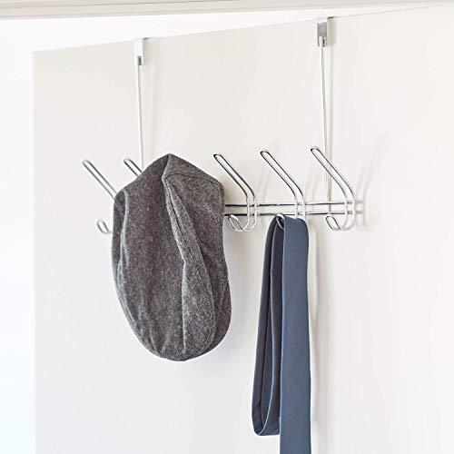 Amazon interdesign classico over door organizer hooks 6 hook storage rack for coats hats robes or towels chrome