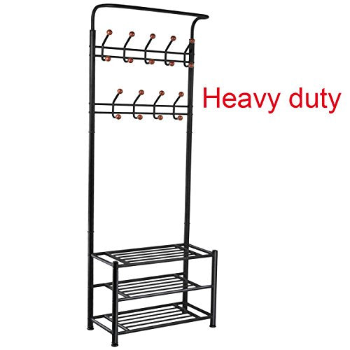 FYHEART Heavy Duty Coat Shoe Entryway Rack with 3-Tier Shoe Bench Shelves Organizer with Coat Hat Umbrella Rack 18 Hooks for Hallway Entryway Metal, Black