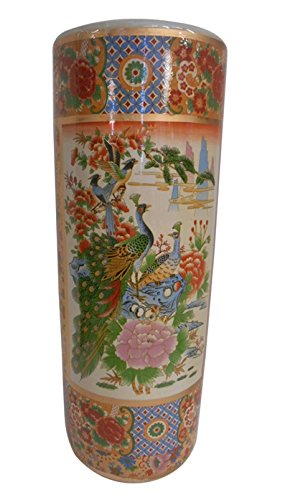 "Oriental Furnishings 22"" H Satsuma Porcelain Umbrella Stand Painted Peacock"