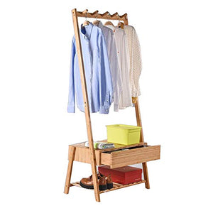 ZEMIN Floor Standing Coat Rack Storage Clothes Hanger Shoes Shelves 5 Hooks Drawer Home Install, Bamboo (Color : Wood Color, Size : 64.5x39.5x149.5cm)