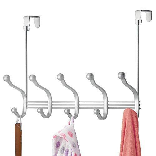 Discover the vibrynt decorative over door hook metal storage organizer rack for coats hoodies hats scarves purses leashes bath towels robes men and women clothing