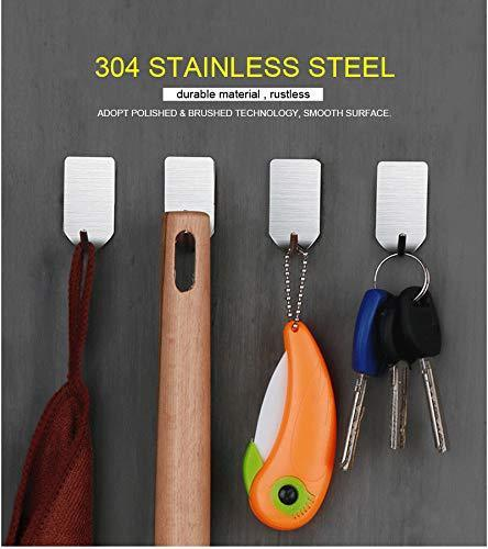Select nice adhesive hooks heavy duty wall hooks made from 304 stainless steel thats waterproof for coat towel hook keys bags kitchen and bathroom 16 pack