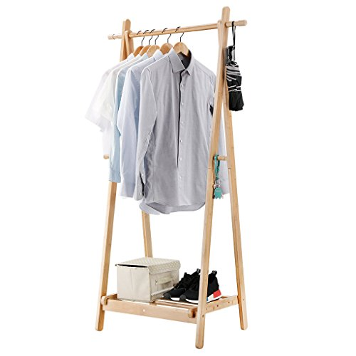 LANGRIA Foldable Bamboo Clothes Laundry Rack with 4 Side Hooks Lower Shoe Shelf for Extra Storage Space A-Frame Design Garment Stand, Bamboo Natural Color