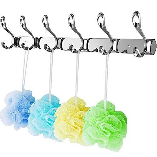 Heavy duty arplis wall mounted hooks stainless steel rack wall hanger with 6 double hooks design coat towel rail hook for foyer hallways and bedrooms