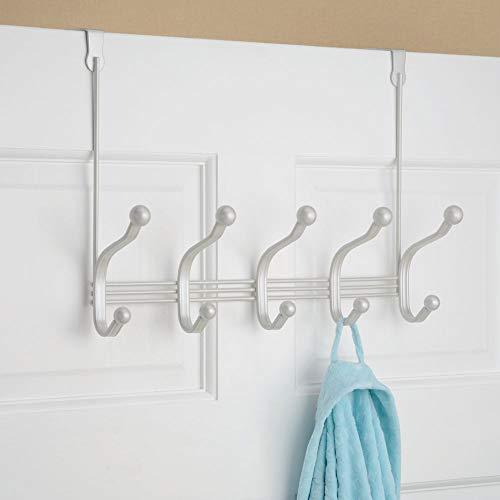 Top mdesign decorative over door 10 hook steel storage organizer rack for coats hoodies hats scarves purses leashes bath towels robes for mens and womens clothing pearl white