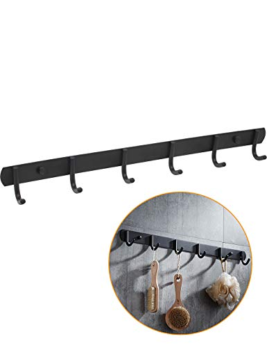 Kitchen Hardware Collection 6 Single Hooks Coat Rack Rail Wall Mounted Hook Black Coat Hanging Racks for Entryway Kitchen Bathroom Scarf Bag Towel Key Cap Cup Hat
