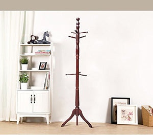 Creation Yusheng Coat Rack Hanger Solid Wood Hall Tree Home Decor with 9 Hooks for Jackets Scarves Stand, Tripod Base (Oak)
