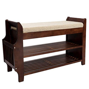 Shoe Rack Bench, Bamboo Removable Cushion Storage Shelf, 2-Tier Entryway Shoe Storage Organizer with Drawer and Umbrella Stand