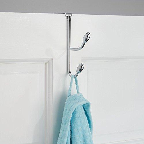 New mdesign over door 2 hook 2 tier steel double storage organizer rack for coats hoodies hats scarves purses leashes bath towels robes pack of 2 chrome