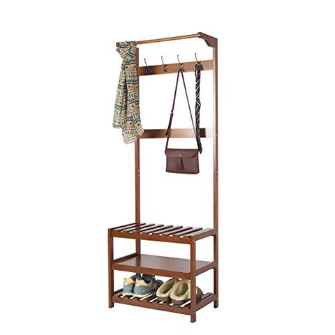 Yaker's Collection Hall Tree, 3-in-1 Easy Assembly Coat Rack with 8 Hooks and 3-Tier Shelves, Durable Full Wood Entryway Shoe Bench, Large Storage Capacity Coat Racks Free Standing