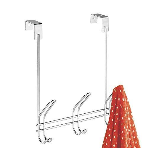 Shop interdesign 43912 classico over door storage rack organizer hooks for coats hats robes clothes or towels 3 dual hooks chrome
