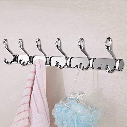 Home arplis wall mounted hooks stainless steel rack wall hanger with 6 double hooks design coat towel rail hook for foyer hallways and bedrooms