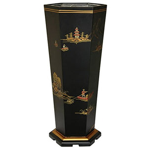 Oriental Furniture Black Landscape Umbrella Stand
