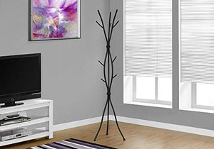 "Monarch Specialties Coat Rack - Coat Tree with 8 Hooks, Hammered Metal 74"" H (Black)"