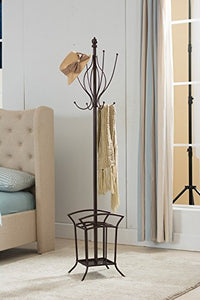 Kings Brand Bronze Finish Metal Coat Rack & Hat Stand With Umbrella Holder