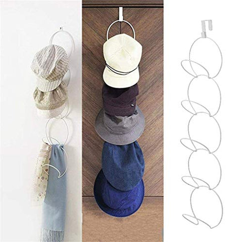 Xemz Door & Wall Mounted Hat Rack, Door Hanging Hat Clothes Bag Cap Scarf Hanger, Baseball Cap Ties Belts Hooks Display Holder Organizer (White)
