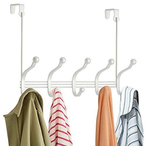 The best mdesign decorative over door 10 hook steel storage organizer rack for coats hoodies hats scarves purses leashes bath towels robes for mens and womens clothing pearl white