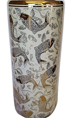 Oriental Furnishings Porcelain Umbrella Stand Gold Fish on White Glazez