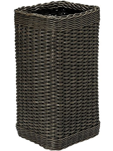 "KOUBOO 1060068 Wicker Umbrella Stand with Water Catch, 10"" x 10"" x 20"", Dark Brown Expresso"
