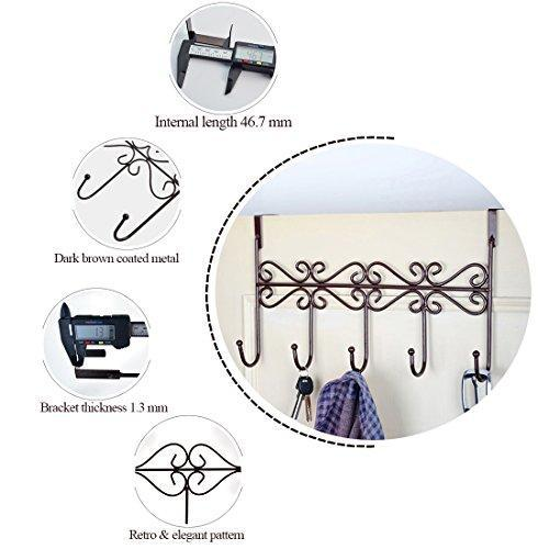 The best obmwang over the door 5 hook rack decorative organizer hooks for clothes coat hat belt towels stylish over door hanger for home or office use l x w x h 15 x 2 x 9 inch
