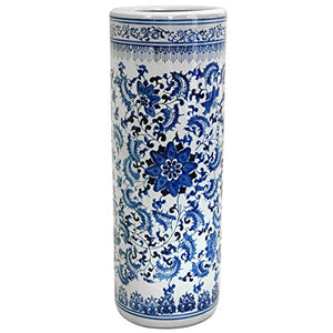 "Oriental Furniture 24"" Floral Blue & White Porcelain Umbrella Stand"