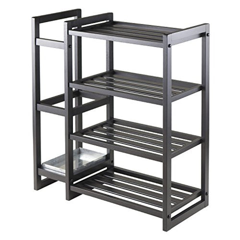 Winsome Wood Isabel Shoe Rack with Umbrella Stand and Tray Black Finish