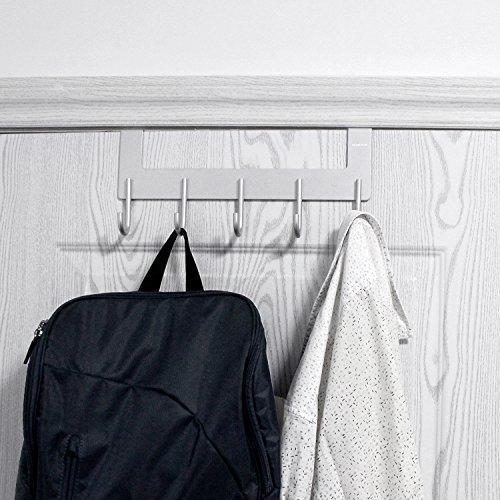Save acmetop over the door hook hanger heavy duty organizer for coat towel bag robe 5 hooks aluminum brush finish silver