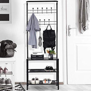 Tangkula Entryway Hall Tree Multi-Purpose Metal Coat and Shoe Bench Rack 3-Tier Storage Shelves Bag Clothes Umbrella and Hat Rack for Entryway (26.0''x 12.5''x72.5'' (L x W x H))