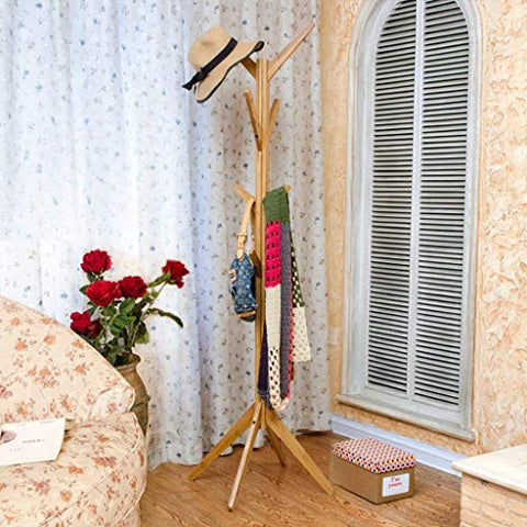 XQY Wooden Household Hangers, Wall Hangers?Bamboo Tree - Shaped Bedroom Creative Floor Hangers Living Room Solid Wood Hangers Clothes Hanger 44 44 173Cm?Wall Door Back Coat Rack