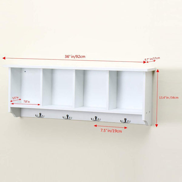 Amazon love furniture floating shelf coat rack wall mounted cabinets hanging entryway shelf w 4 hooks storage cubbies organizer white