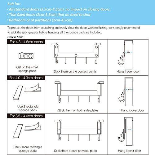 Related acmetop over the door hook hanger heavy duty organizer for coat towel bag robe 5 hooks aluminum brush finish silver