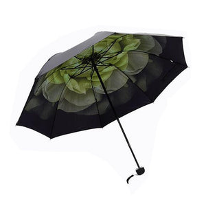 LOHOME Ultralight Sun Umbrella, UV Protection Small Black Parasol 3 Folding Umbrella Great for Sunny and Rainy Day with Flower Contrast Lining (White)