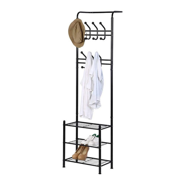 Storage organizer hall tree coat rack black metal coat hat shoe bench rack 3 tier storage shelves free standing clothes stand 18 hooks entryway corner hallway garment organizer