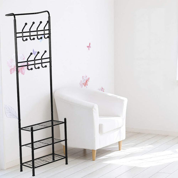 Try hall tree coat rack black metal coat hat shoe bench rack 3 tier storage shelves free standing clothes stand 18 hooks entryway corner hallway garment organizer