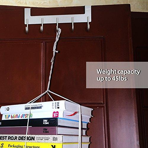 Selection acmetop over the door hook hanger heavy duty organizer for coat towel bag robe 5 hooks aluminum brush finish silver