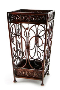 Brelso Super Quality Umbrella Stand, Umbrella Holder, Antique Look Metal, Entry Hallway Décor, Square Style, w/Removable Drip Tray. (Red-Brown)
