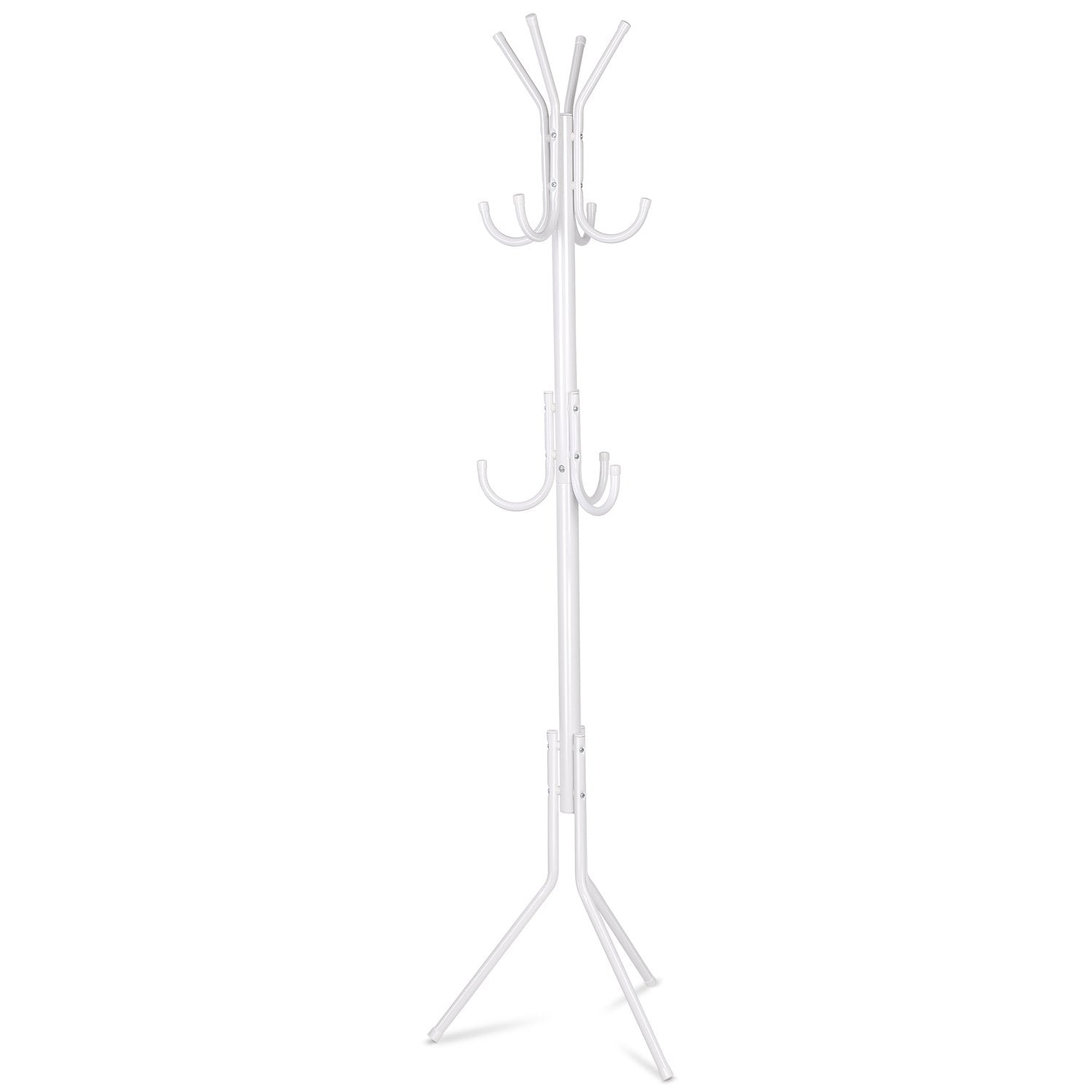 INTEY Standing Coat Rack, Hanger Holder Hooks for Dress, Jacket, Hat and Umbrella, Tree Stand with Base Metal, White