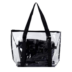 YJYdada Fashion Women Clear Beach Bag Waterproof Bag Shoulder Bag Handbag Messenger Bag (Black)