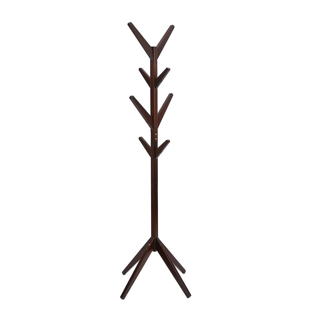 Solid Wood Coat Rack Entryway Hall Tree Coat Tree Rack for Coat Hat Purse Jacket 4 Layer 8 Hook (Coffee)