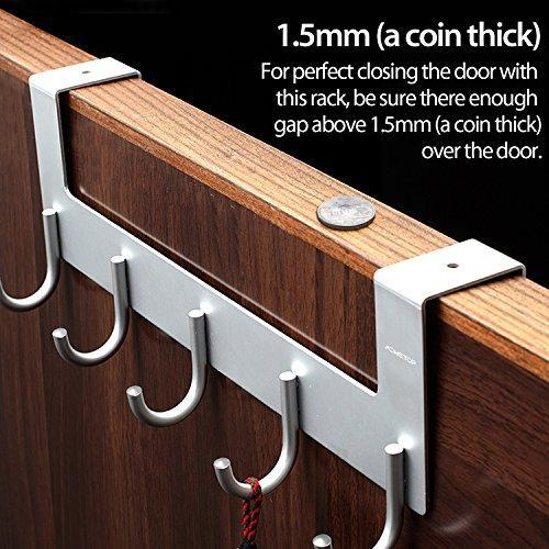 Select nice acmetop over the door hook hanger heavy duty organizer for coat towel bag robe 5 hooks aluminum brush finish silver