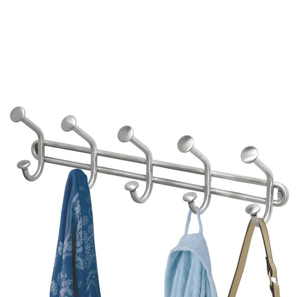 Home interdesign forma wall mount storage rack hanging hooks for jackets coats hats and scarves 5 dual hooks brushed stainless steel