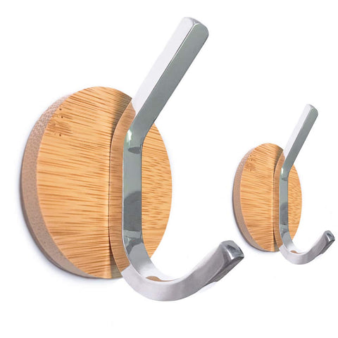 Wood Key Holder for Wall, Solid Stainless Steel Peg Decorative Small Coat Hooks, Adhesive Modern Rack Hanger for Cabinet Towel Robe Bags on Bathroom Kitchen Office, Set of 2