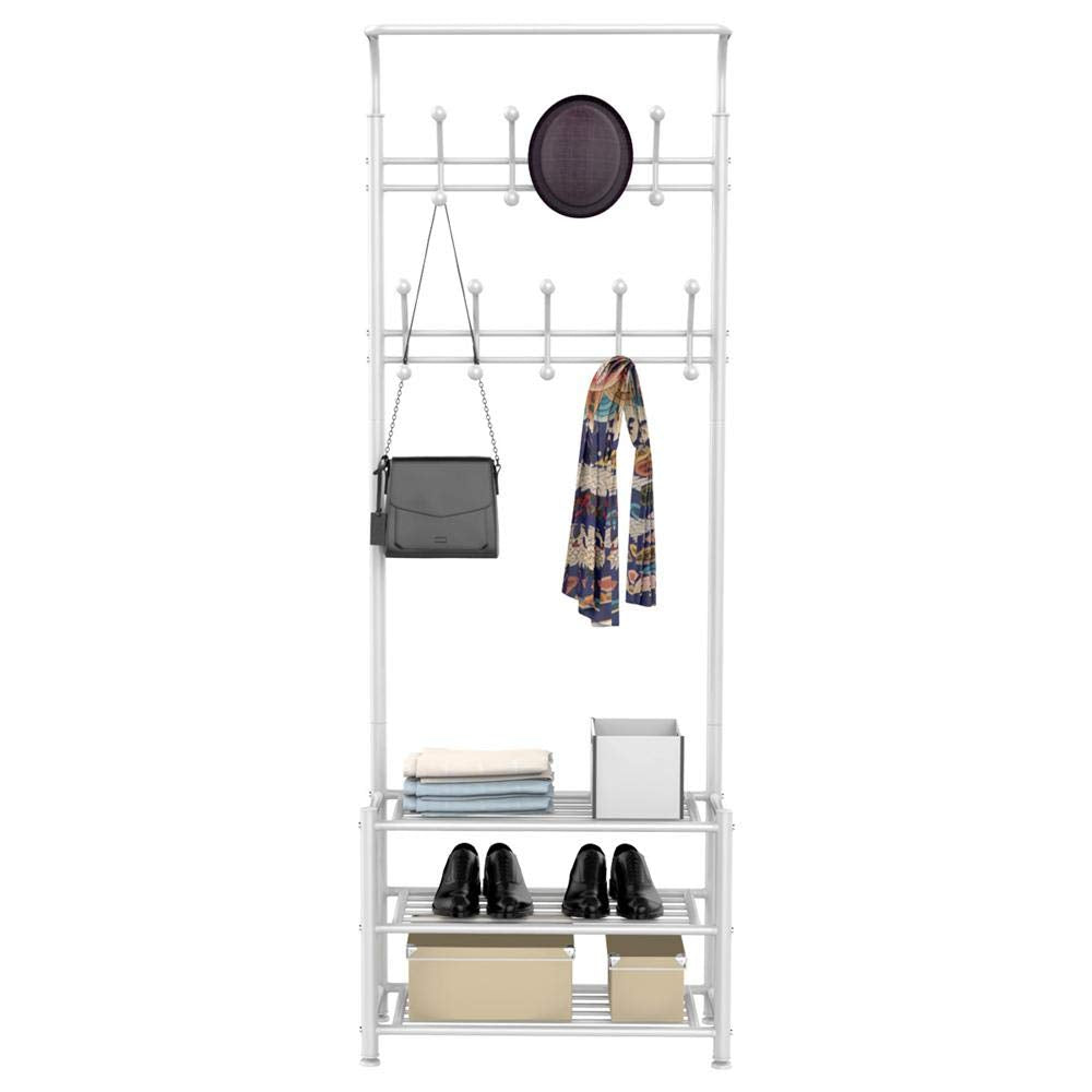 Yaheetech Fashion Heavy Duty Garment Rack with Shelves 3-Tier Shoes Rack,Coat Rack with Hanger Bar (White)