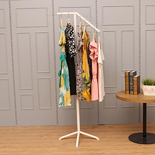 Shelves MEIDUO Coat Rack Clothing Display Stand Wrought Iron For Household Clothing Store (Color : White)
