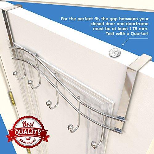 Save on over the door rack with hooks 5 hangers for towels coats clothes robes ties hats bathroom closet extra long heavy duty chrome space saver mudroom organizer by kyle matthews designs