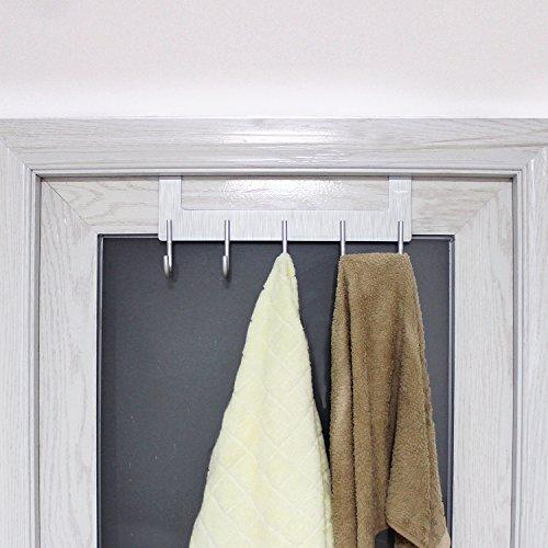 Save on acmetop over the door hook hanger heavy duty organizer for coat towel bag robe 5 hooks aluminum brush finish silver