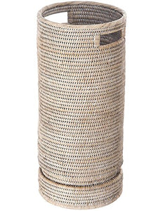 "KOUBOO 1060071 La Jolla Rattan Round Umbrella Stand with Water Catch, 9.5"" x 9.5"" x 21"", White Wash"