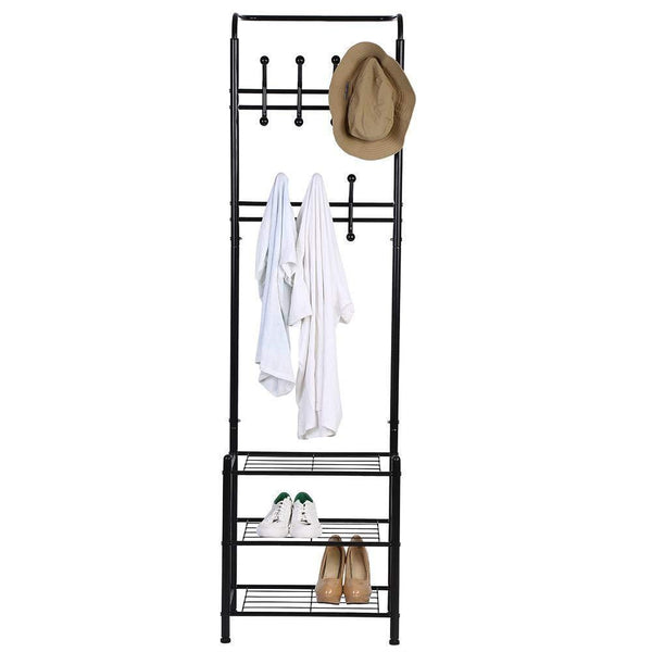The best hall tree coat rack black metal coat hat shoe bench rack 3 tier storage shelves free standing clothes stand 18 hooks entryway corner hallway garment organizer